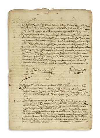 (MEXICAN MANUSCRIPTS.) Packet of testimony on an alcalde from Oaxaca brought before the Inquisition.