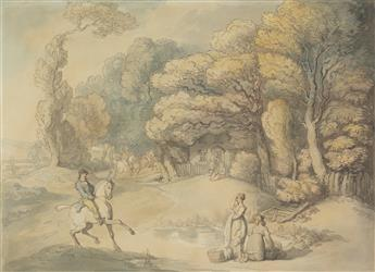 THOMAS ROWLANDSON (London 1756-1827 London) A Landscape with a Country House, Men on Horseback and Washerwomen.