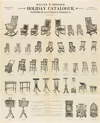 DESIGNERS UNKNOWN. [FURNITURE MAKER ADVERTISEMENTS.] Group of 4 posters. Circa 1870s. Sizes vary.