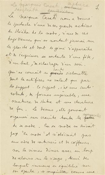 JEAN COCTEAU (1889-1963)  Autograph Manuscript, unsigned, working draft of a brief essay entitled La Marquise Casati: actrice sans thé
