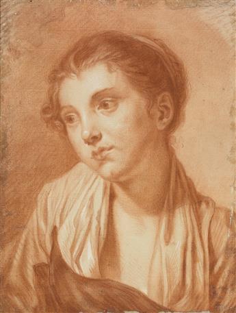 JEAN-BAPTISTE GREUZE (CIRCLE OF) (Tournus 1725-1805 Paris) A Portrait of a Young Woman.