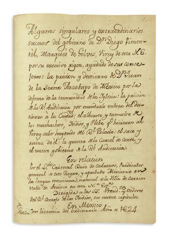 (MEXICAN MANUSCRIPTS.) Ruiz de Cabrera, Cristóbal. Algunos singulares y extraordinarios sucesos del gobierno de dn Diego Pimentél,