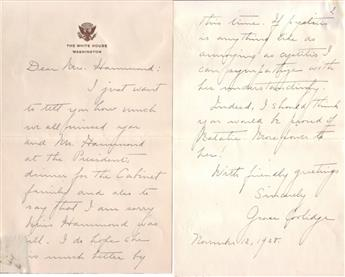 COOLIDGE, GRACE. Autograph Letter Signed, as First Lady, to Natalie Harris Hammond (Dear Mrs. Hammond),
