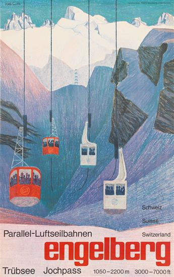 WILLI SUTTER (DATES UNKNOWN). ENGELBERG. 1968. 40x25 inches, 101x64 cm. A. Trub & Cie, Aarau.