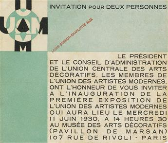 DESIGNER UNKNOWN. UNION DES ARTISTES MODERNES. Invitation. 1930. 4x5 inches, 11x12 cm.