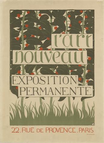 FÉLIX VALLOTTON (1865-1925). LART NOUVEAU / EXPOSITION PERMANENTE. Circa 1896. 23x17 inches, 59x43 cm. Lemercier, Paris.