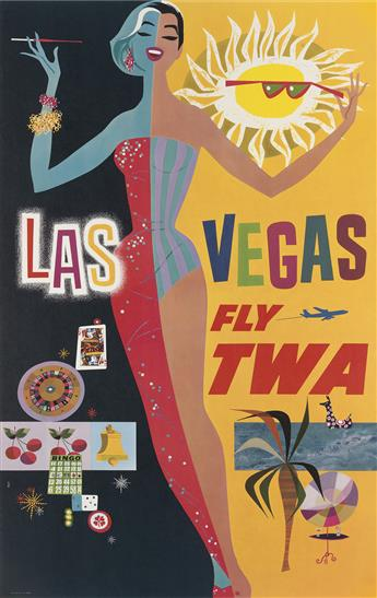 DAVID KLEIN (1918-2005). LAS VEGAS / FLY TWA. 40x25 inches, 101x63 cm.