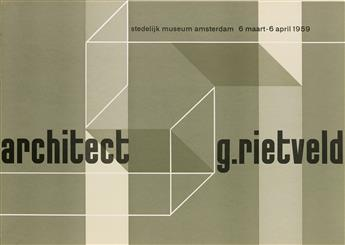 VARIOUS ARTISTS. RIETVELD / STEDELIJK MUSEUM. Group of 3 posters. 1959. Each 19x27 inches, 49x70 cm. Song & Co., Hilversum.