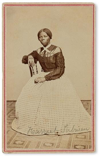 (SLAVERY AND ABOLITION.) PHOTOGRAPHY. Civil War-period carte-de-visite album, including two photographs of Harriet Tubman, one of them