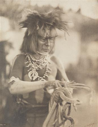EDWARD S. CURTIS (1868-1952) Male figure with headdress and pipe * Male figure with snakes * Jicarilla Maiden, from The North American