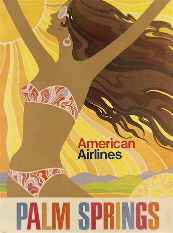 DESIGNER UNKNOWN. PALM SPRINGS / AMERICAN AIRLINES. Circa 1960s. 40x30 inches, 102x76 cm.