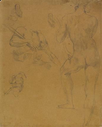 EUGÈNE DELACROIX (Eugène Delacroix 1798-1863 Paris) Sheet of Studies of Figures from the Farnesina, Rome.
