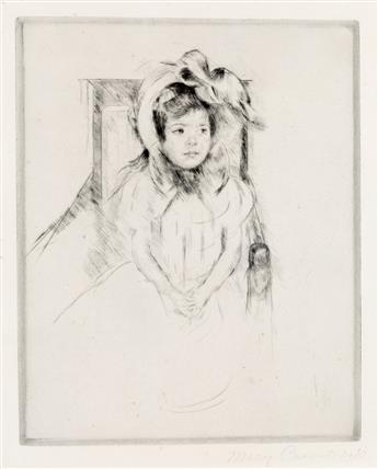 MARY CASSATT Margot Wearing a Large Bonnet, Seated in an Armchair.