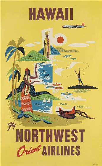 DESIGNER UNKNOWN. HAWAII / FLY NORTHWEST ORIENT AIRLINES. 40x25 inches, 102x63 cm.