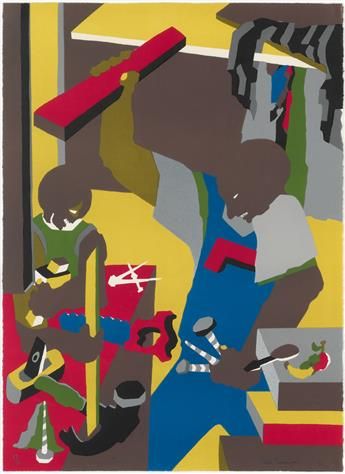 JACOB LAWRENCE (1917 - 2000) Builders Three.