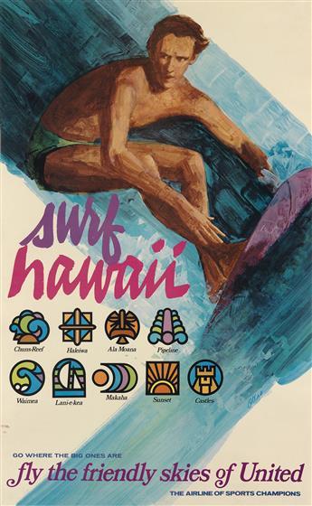 OTERO (DATES UNKNOWN). SURF HAWAII / UNITED. Circa 1970s. 40x25 inches, 101x63 cm.