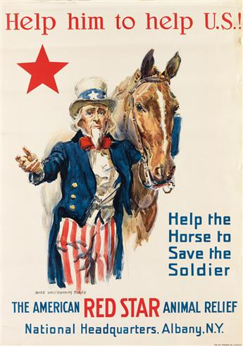 JAMES MONTGOMERY FLAGG (1870-1960). HELP HIM TO HELP U.S.! / THE AMERICAN RED STAR ANIMAL RELIEF. Circa 1917. 32x23 inches, 83x58 cm. W