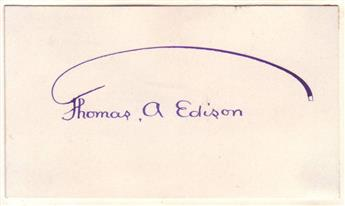 EDISON, THOMAS A. Signature, in purple ink, on a small card.