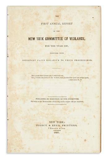 (SLAVERY AND ABOLITION.) First Annual Report of the New York Committee of Vigilance.