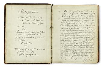 MANUSCRIPTS. Cunningham, John. Metaphysica. 1698 + Pneumatologia. 1699.  2 autograph manuscripts in Latin on paper.