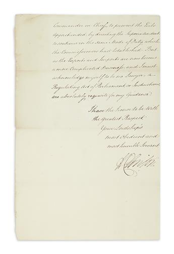 (AMERICAN REVOLUTION.) CLINTON, HENRY. Letter Signed, HClinton, as Commander-in-Chief, to Colonial Secretary George Germain,