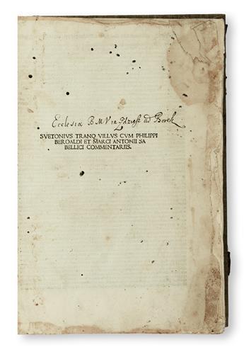 INCUNABULA  SUETONIUS TRANQUILLUS, GAIUS. Vitae XII Caesarum.  1500