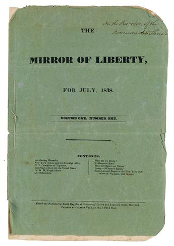 (SLAVERY AND ABOLITION.) Ruggles, David; editor. The Mirror of Liberty, for July 1838. Volume One, Number One.