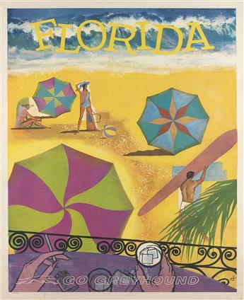 MONOGRAM UNKNOWN. FLORIDA / GO GREYHOUND. Circa 1960s. 40x30 inches, 101x76 cm.