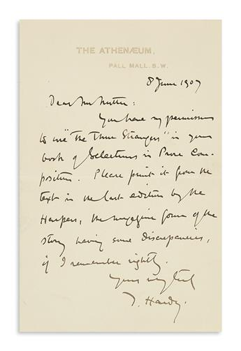 HARDY, THOMAS. Autograph Letter Signed, T. Hardy, to Charles Read Nutter (Dear Mr. Nutter),
