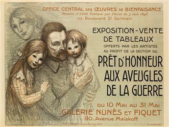 THÉOPHILE-ALEXANDRE STEINLEN (1859-1923). PRÊT DHONNEUR AUX AVEUGLES DE LA GUERRE. 1917. 31x44 inches, 80x113 cm. H. Chachoin, Paris.