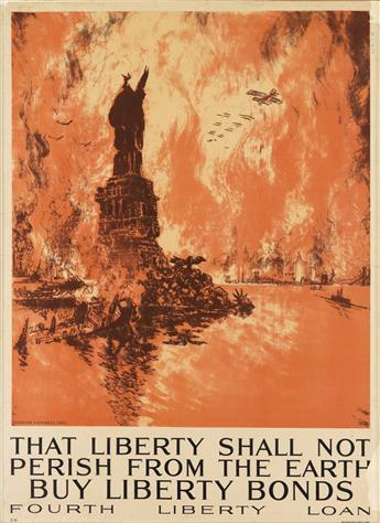JOSEPH PENNELL (1857-1926). THAT LIBERTY SHALL NOT PERISH FROM THE EARTH. 1918. 40x29 inches, 103x75 cm. Ketterlinus, Philadelphia.