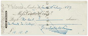 DICKENS, CHARLES. Check accomplished and Signed, to Pew Rent in the amount of £10.10.0.