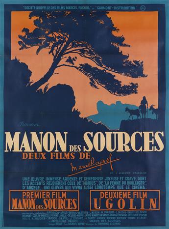 DESIGNER UNKNOWN. MANON DES SOURCES. 1952. 60x45 inches, 153x114 cm. Bedos & Cie, Paris.