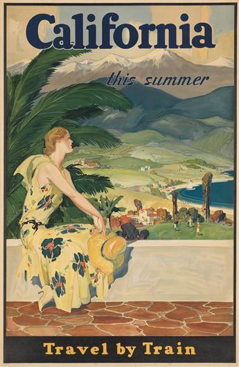 DESIGNER UNKNOWN. CALIFORNIA / THIS SUMMER. Circa 1933. 41x26 inches, 104x68 cm. Newman-Monroe Co., Chicago.