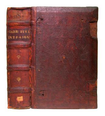 BIEL, GABRIEL. Gabriel in ter[tium] [quartum] sententia[rum].  Vols. 3 and 4 (of 4) in one.  1501