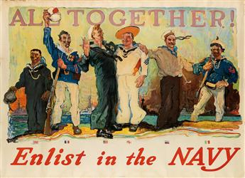 HENRY REUTERDAHL (1871-1925). ALL TOGETHER! / ENLIST IN THE NAVY. Group of 9 duplicate posters. 1917. Each 31x43 inches, 80x109 cm.