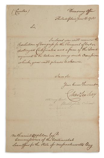 (AMERICAN REVOLUTION.) CHARLES LEE. Brief Letter Signed, as Secretary to the Board of Treasury, to Commissioner of the C...