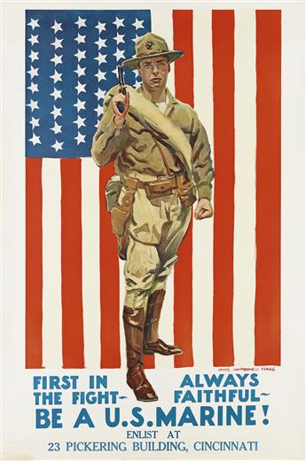 JAMES MONTGOMERY FLAGG (1870-1960). BE A U.S. MARINE! Circa 1918. 42x28 inches, 106x71 cm.