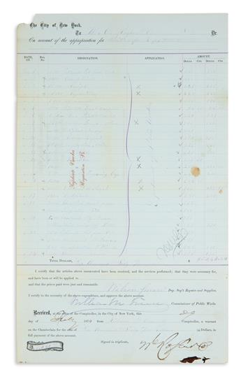 BOSS TWEED WILLIAM MARCY TWEED. Partly-printed Document Signed, William M Tweed, as Commissioner of Public...