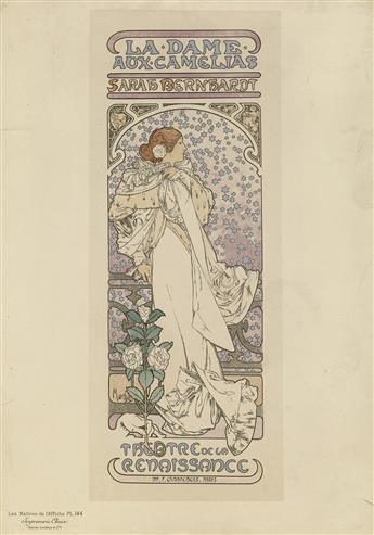 ALPHONSE MUCHA (1860-1939). LA DAME AUX CAMELIAS. Maîtres de lAffiche pl. 144. 1898. 15x11 inches, 38x28 cm. Chaix, Paris.