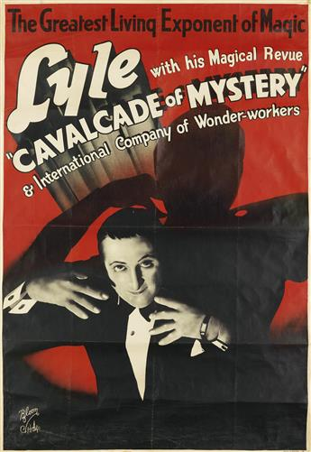 PHOTOGRAPH BY BLOOM (DATES UNKNOWN). LYLE WITH HIS MAGICAL REVUE / CAVALCADE OF MYSTERY. Circa 1930. 59x39 inches, 150x101 cm.