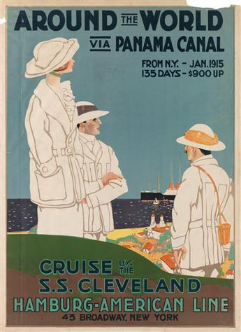 DESIGNER UNKNOWN. AROUND THE WORLD VIA PANAMA CANAL / HAMBURG - AMERICAN LINE. 1914. 28x20 inches, 71x52 cm.