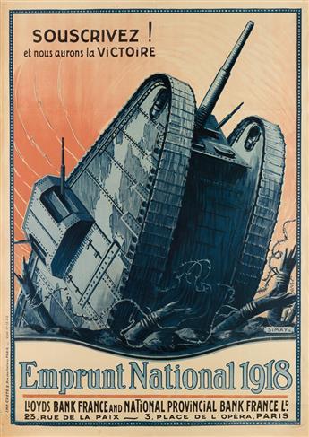 SIMAY (DATES UNKNOWN). EMPRUNT NATIONAL. 1918. 44x31 inches, 111x80 cm. Crété, Paris.