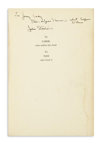 STEINBECK, JOHN. The Grapes of Wrath. Signed and Inscribed, For Jerry Cady / This, as far as I know, is what happens to them / John St