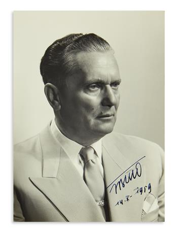 JOSIP BROZ TITO. Photograph dated and Signed, JBTito, as President of Yugoslavia, bust portrait showing him we...
