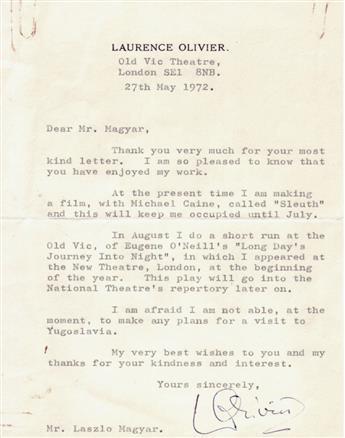 OLIVIER, LAURENCE. Typed Letter Signed, LOlivier, to László Magyar,