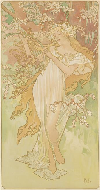 ALPHONSE MUCHA (1860-1939). [THE SEASONS.] Group of 4 decorative panels. 1896. Each 39x20 inches, 101x57 cm. [F. Champenois, Paris.]