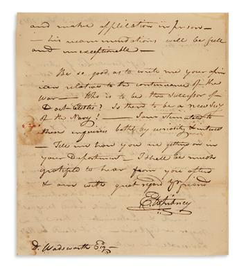 ELI WHITNEY. Autograph Letter Signed, E. Whitney, to Commissary General Decius Wadsworth, inquiring about the...