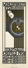 RAIMUND JAHN (DATES UNKNOWN). WOHLTÄTIGKEITS - FEST / STADTHALLE CREFELD. 1908. 54x23 inches, 138x58 cm. Kleinsche Druckerei, Crefeld.