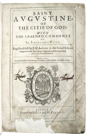 AUGUSTINUS, AURELIUS, Saint. Of the Citie of God.  1620